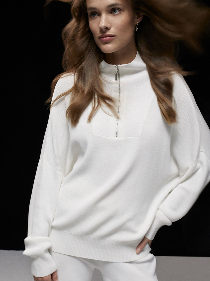 High Neck Sweater With Zip, White, hi-res