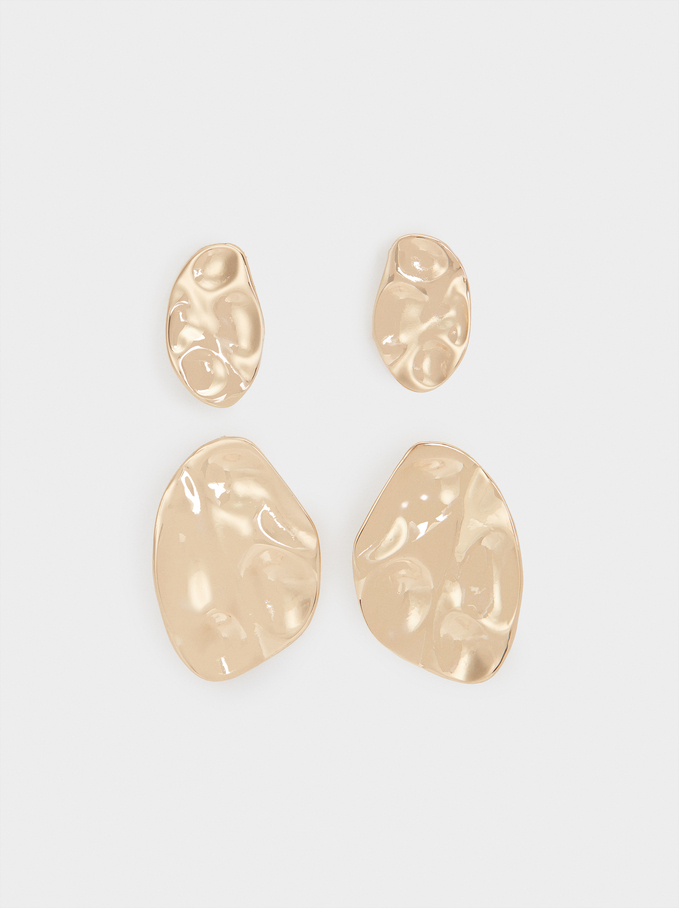 Set Of Raised Effect Earrings, Golden, hi-res