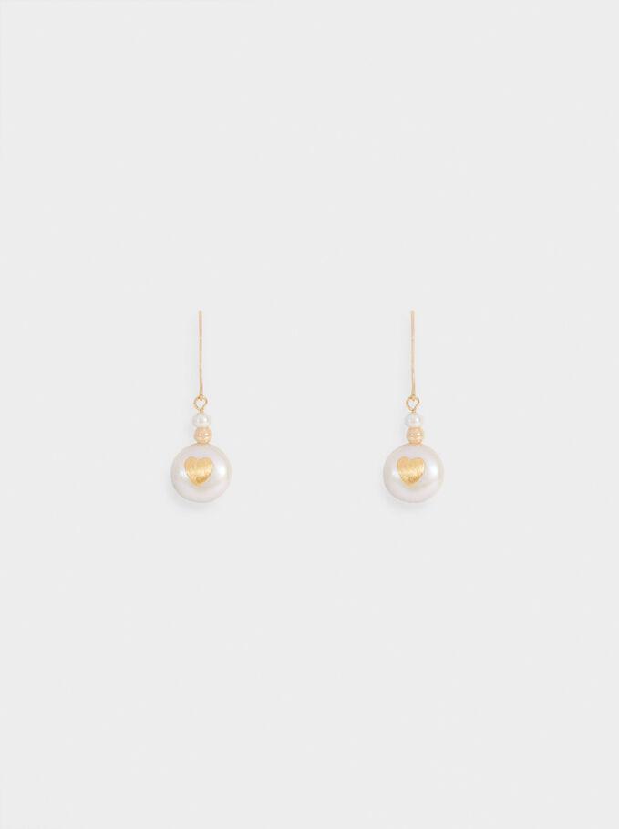 Sterling Silver Plated Romantic Earrings Silver Heart Ear Studs and Pearl Earrings Short Heart Earrings Silver Pearl Earrings