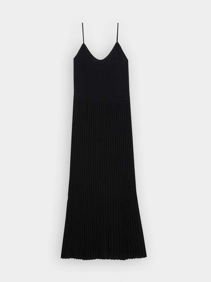 Knitted Dress With Shoulder Straps, Black, hi-res