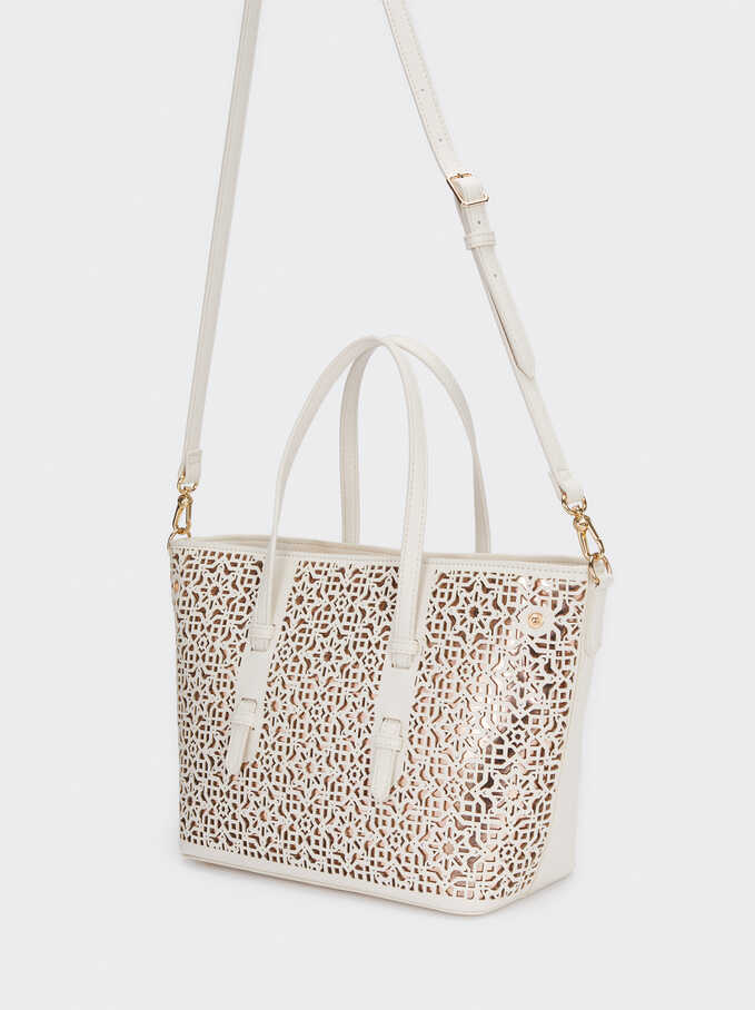 Shopper Bag With Openwork Detailing, Ecru, hi-res