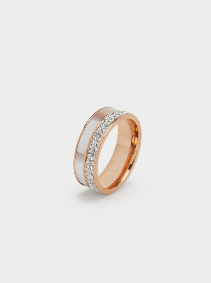 Bague En Acier Faux-Diamants, Orange, hi-res
