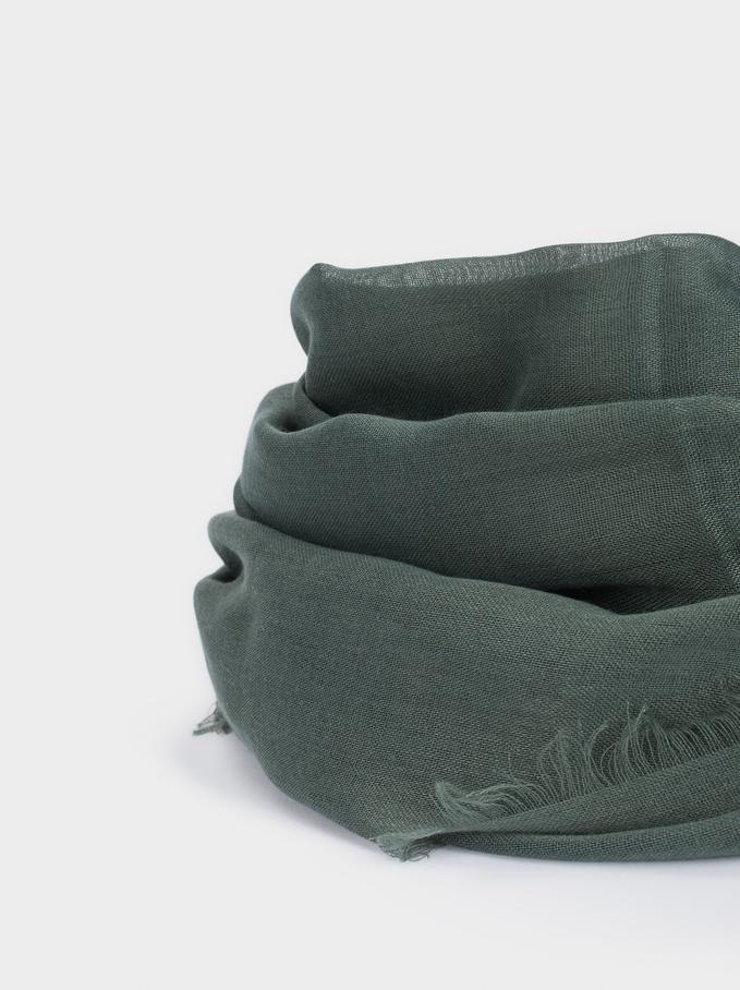 Plain Pashmina With Frayed Detailing, Green, hi-res
