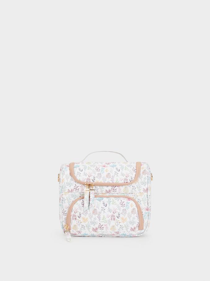 Floral Print Lunch Bag, Pink, hi-res