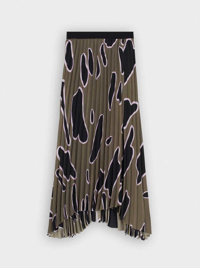 Pleated Printed Skirt With Elasticated Waist, Khaki, hi-res