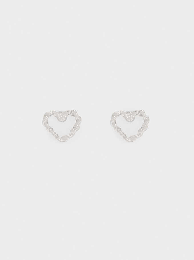 Short Woven Heart Earrings, Silver, hi-res