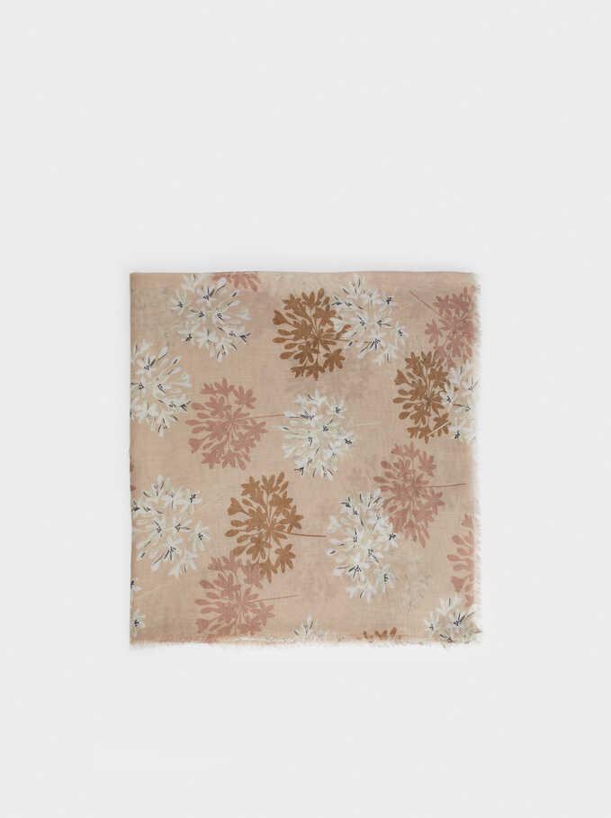 Floral Print Scarf, Brown, hi-res