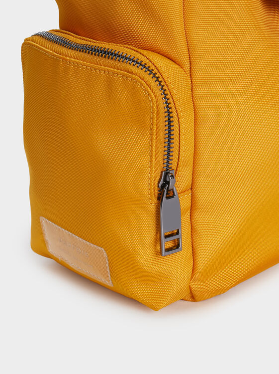 Nylon Backpack With Side Pockets, Mustard, hi-res
