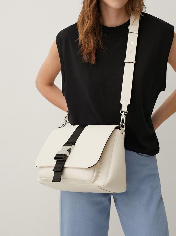 Crossbody Bag With Front Buckle, Ecru, hi-res