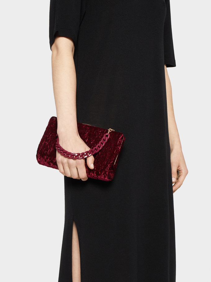 Velvet Party Clutch, Bordeaux, hi-res