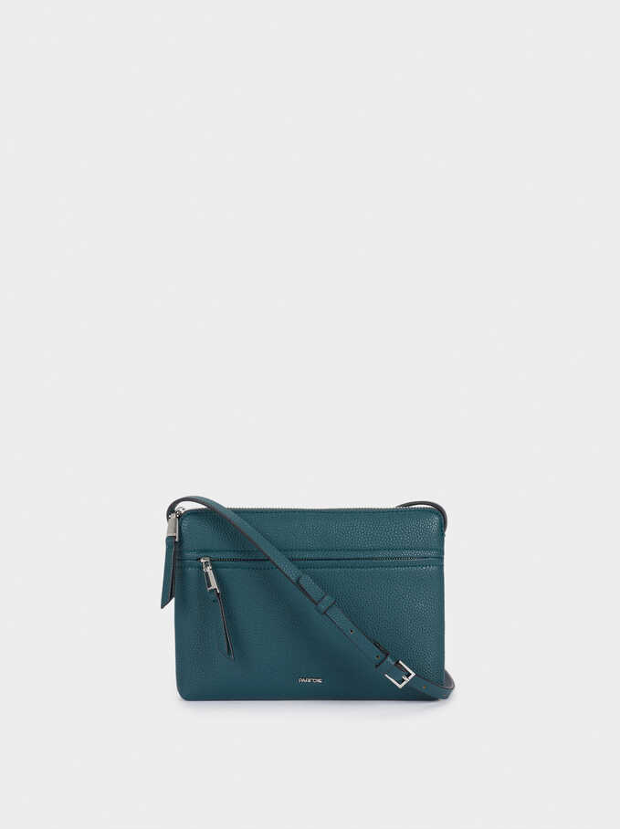 Shoulder Bag With Outer Pocket, Blue, hi-res