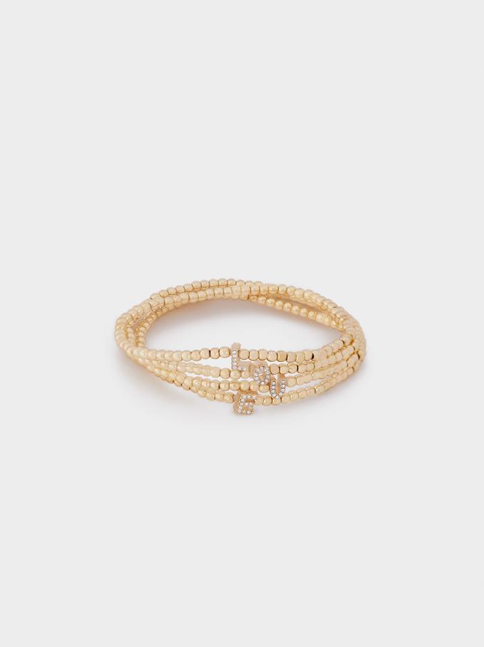 Love Elastic Bead Bracelet, Golden, hi-res