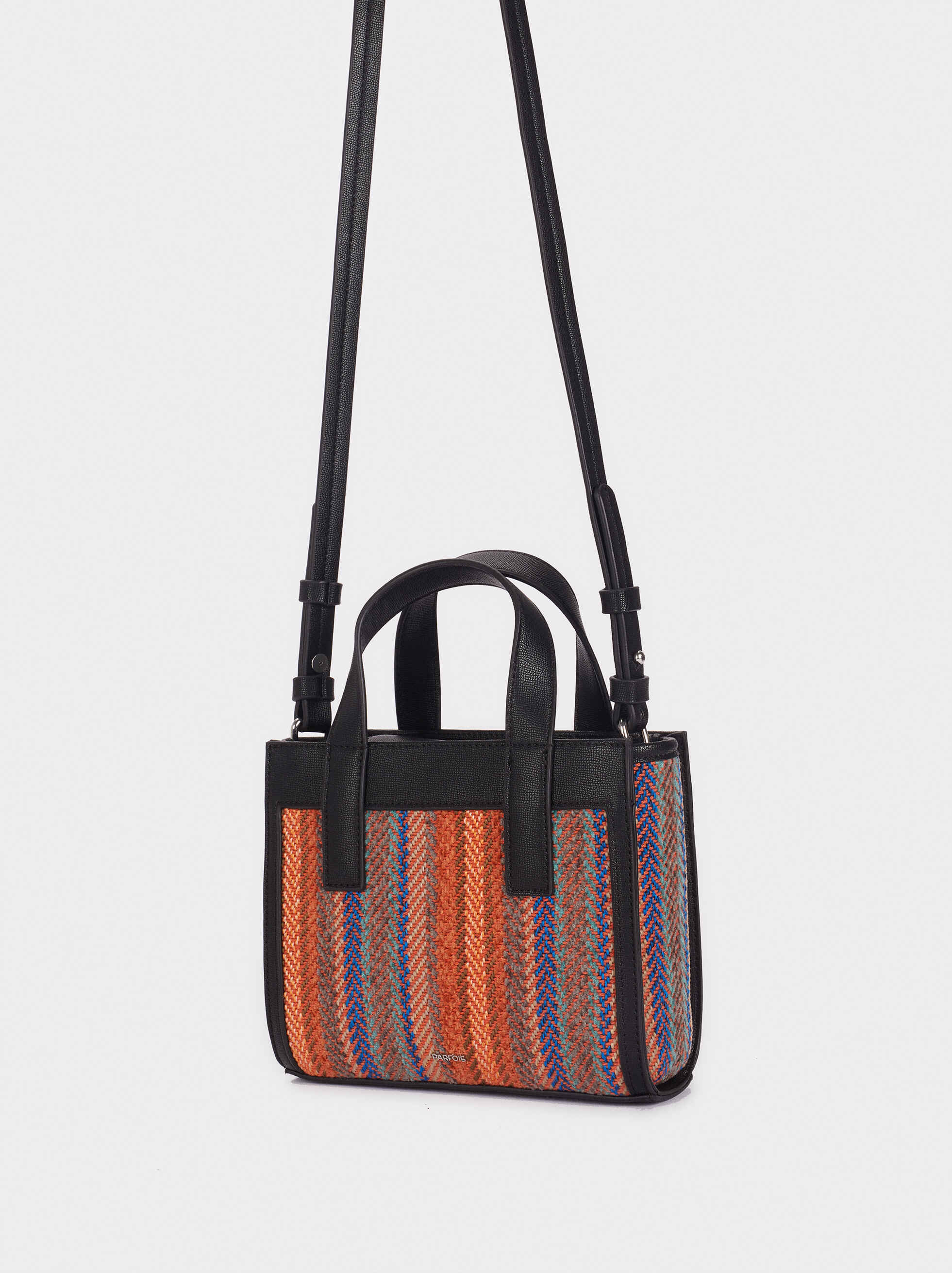 Bucket Bag With Multicoloured Plaited Detailing, Orange, hi-res