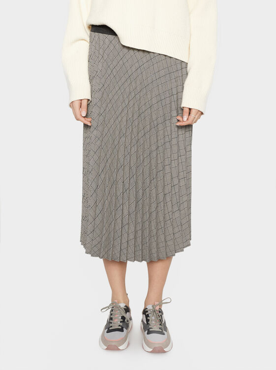 Check Pleated Skirt, Grey, hi-res
