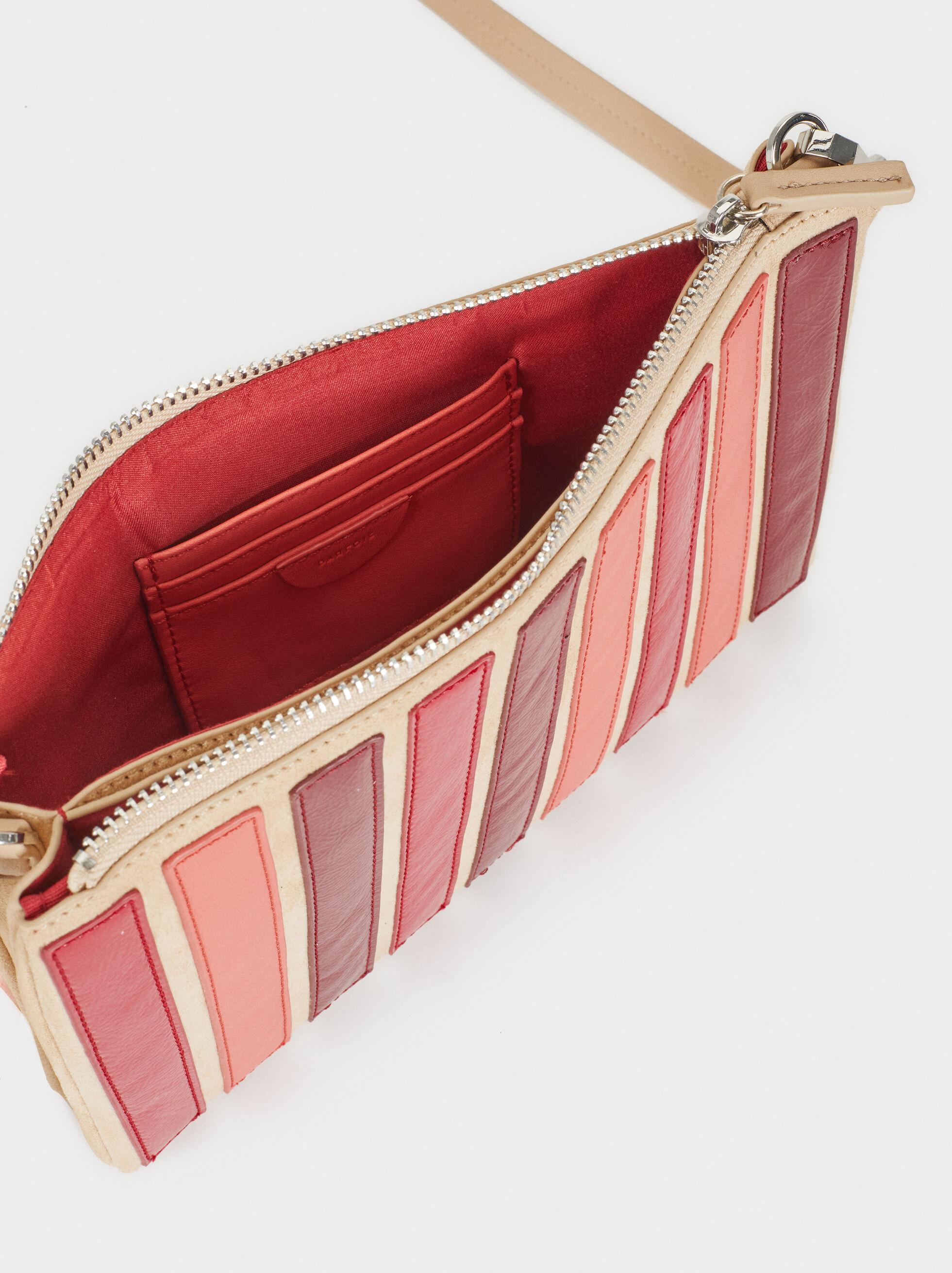 Striped Handbag, Red, hi-res