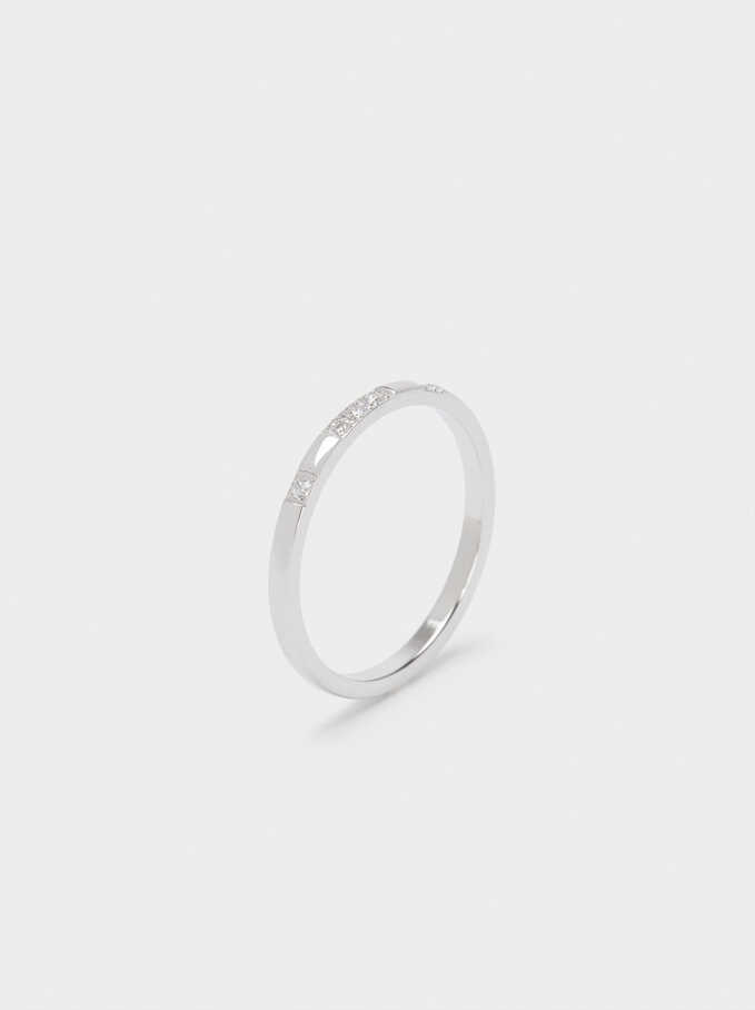 Stainless Steel Ring With Crystals, Silver, hi-res