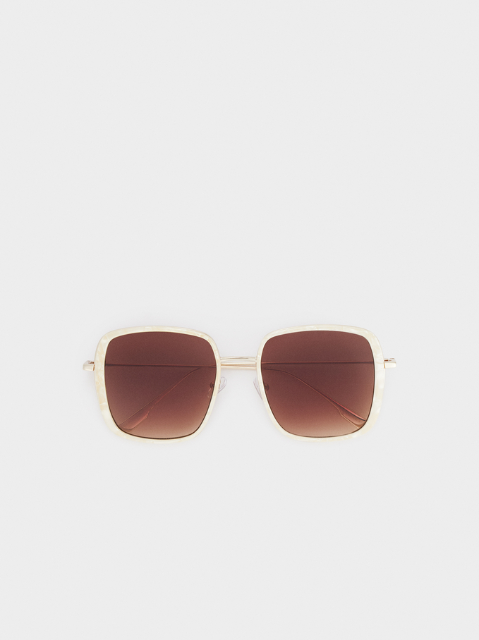 Square-Cut Sunglasses, White, hi-res