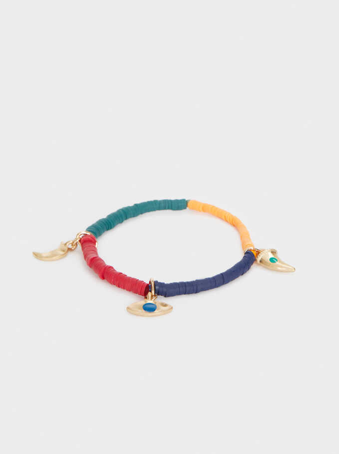 Multicoloured Elastic Bracelet, Multicolor, hi-res