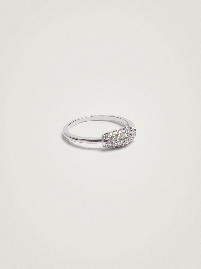 Pinky Finger Ring With Crystals, Silver, hi-res