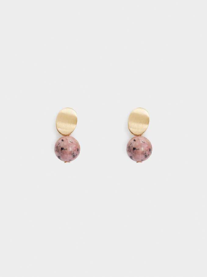 Stone Stud Earrings, Pink, hi-res