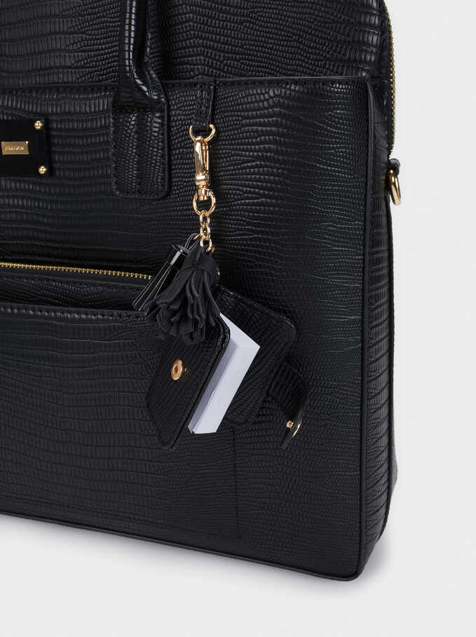 Animal Embossed Briefcase, Black, hi-res