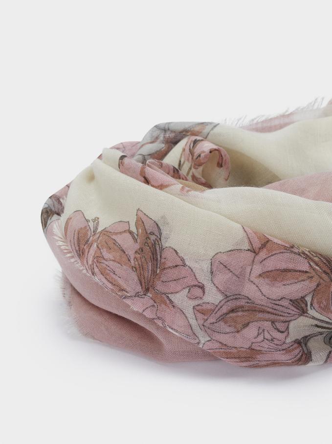 Floral Print Scarf, Pink, hi-res