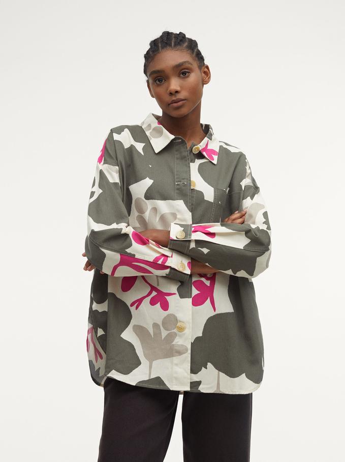 100% Cotton Printed Shirt, Ecru, hi-res