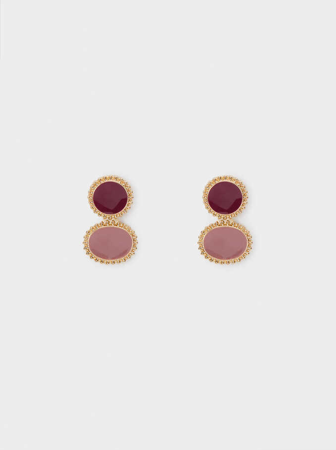 Short Earrings With Crystals, Golden, hi-res