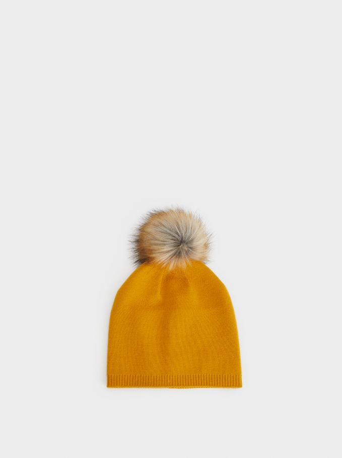 Hat With Pompom, Mustard, hi-res