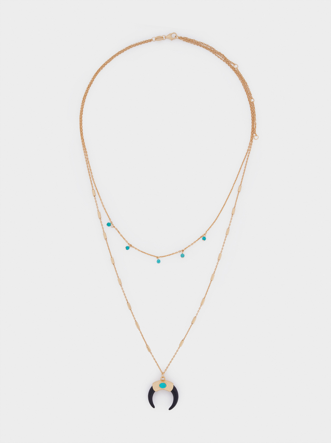 Short 925 Silver Necklace With Horn And Stone, Blue, hi-res
