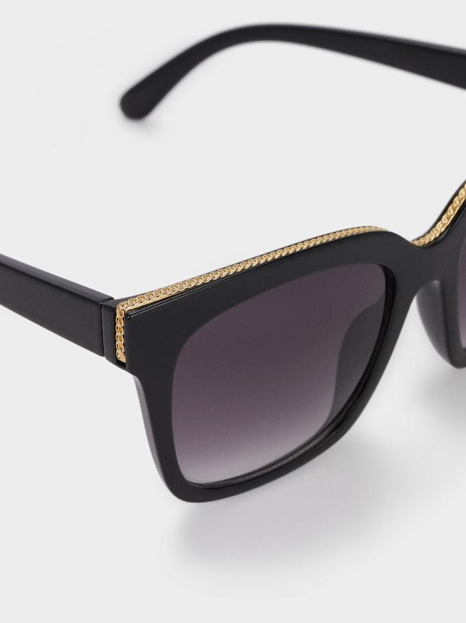 Gafas De Sol Montura Cuadrada, Negro, hi-res