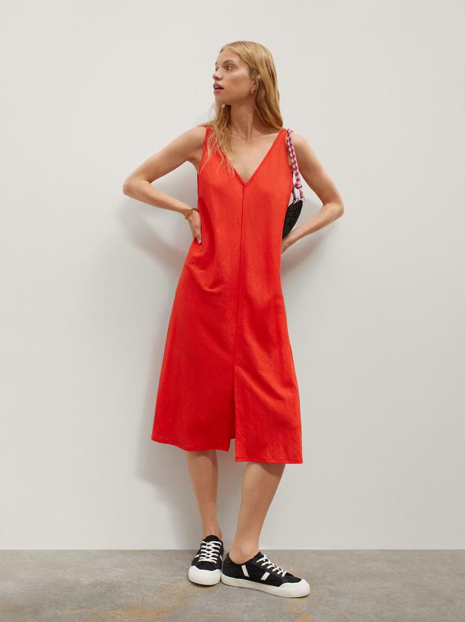 Plain V-Neck Dress, Red, hi-res