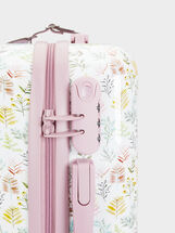 Floral Print Trolley Suitcase, Pink, hi-res