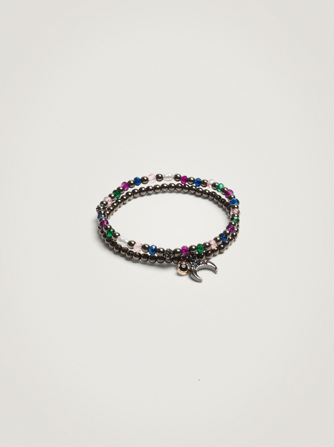 Set Of Elastic Bracelets With Moon And Beads, Multicolor, hi-res