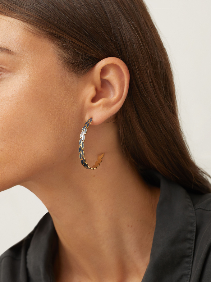 Stainless Steel Large Hoop Earrings With Leaves, Blue, hi-res