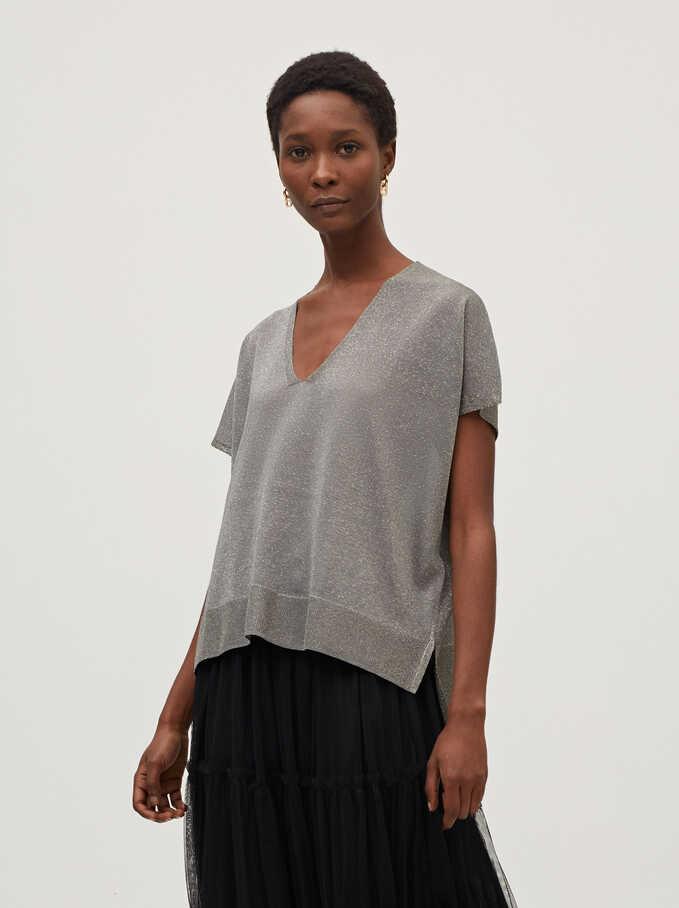 V-Neck Fine-Knit Sweater, Grey, hi-res