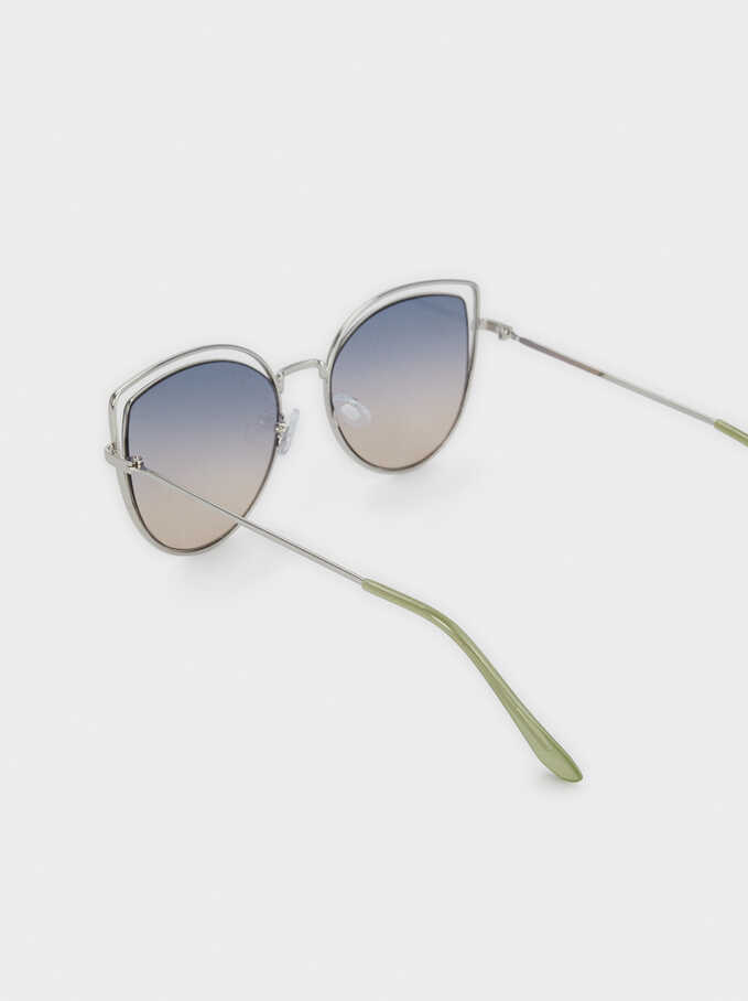 Metal Cat-Eye Sunglasses, Silver, hi-res