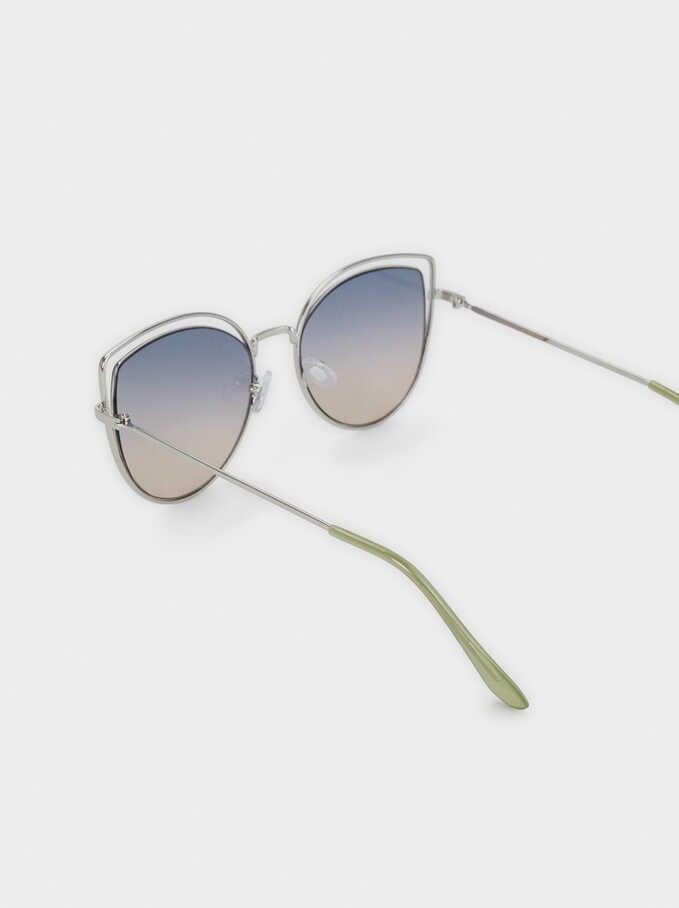 Gafas De Sol Metálicas Cat Eye, Plateado, hi-res