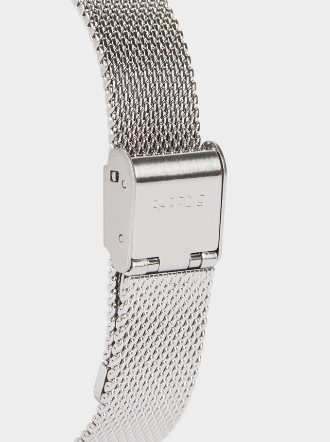 Watch With Steel Strap And World Map Face, Blue, hi-res