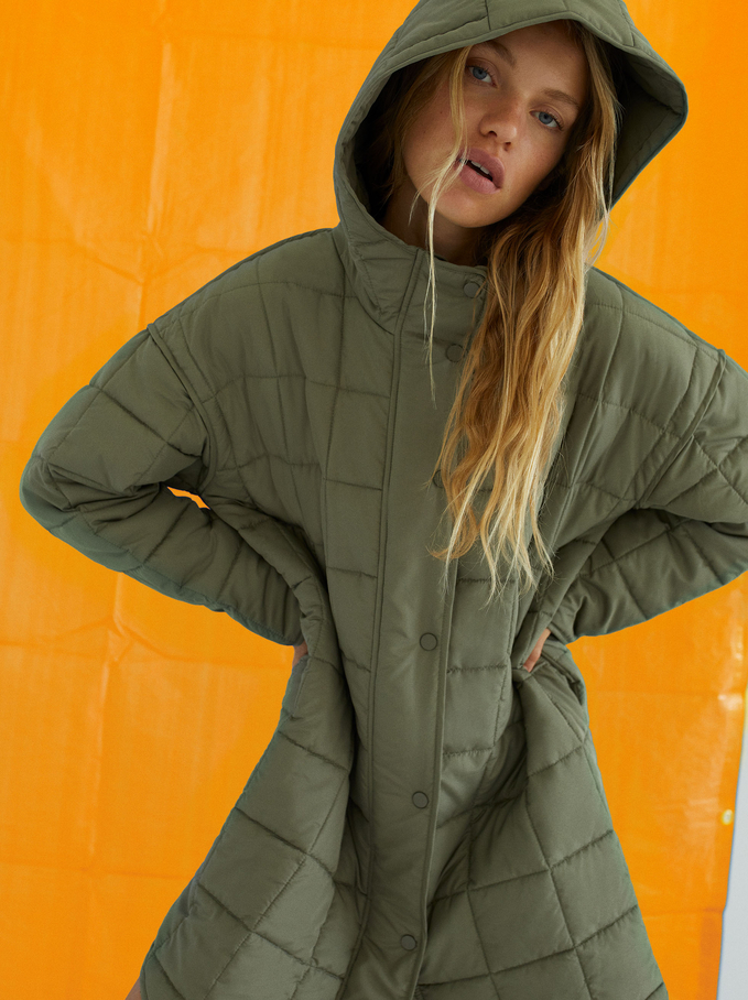 Quilted Jacket With Hood, Khaki, hi-res