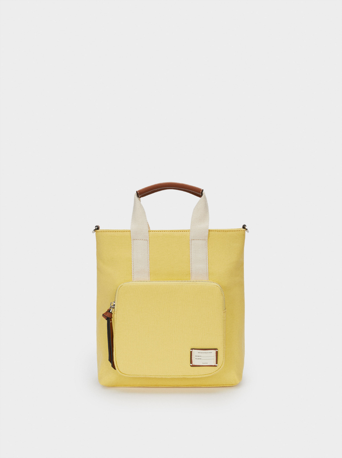 Multi-Way Canvas Backpack With Handles, Yellow, hi-res