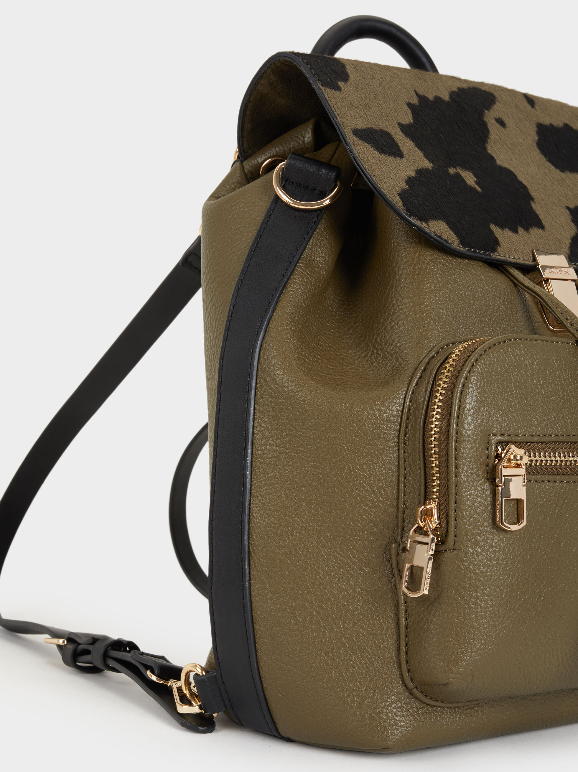Animal Print Backpack, Khaki, hi-res