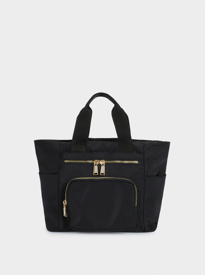 Nylon Tote Bag With Outside Pocket, Black, hi-res