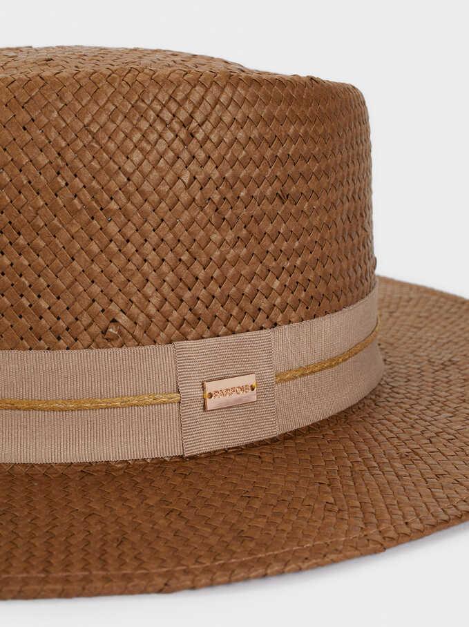 Sombrero De Paja Cinta Combinada, Marrón, hi-res