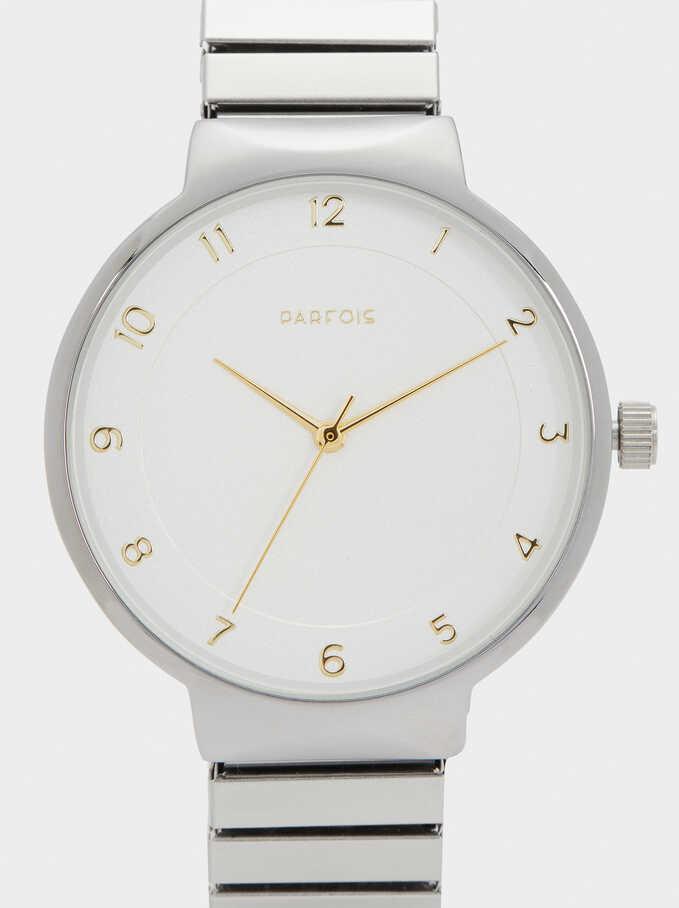 Reloj Correa Elástica De Metal, Plateado, hi-res