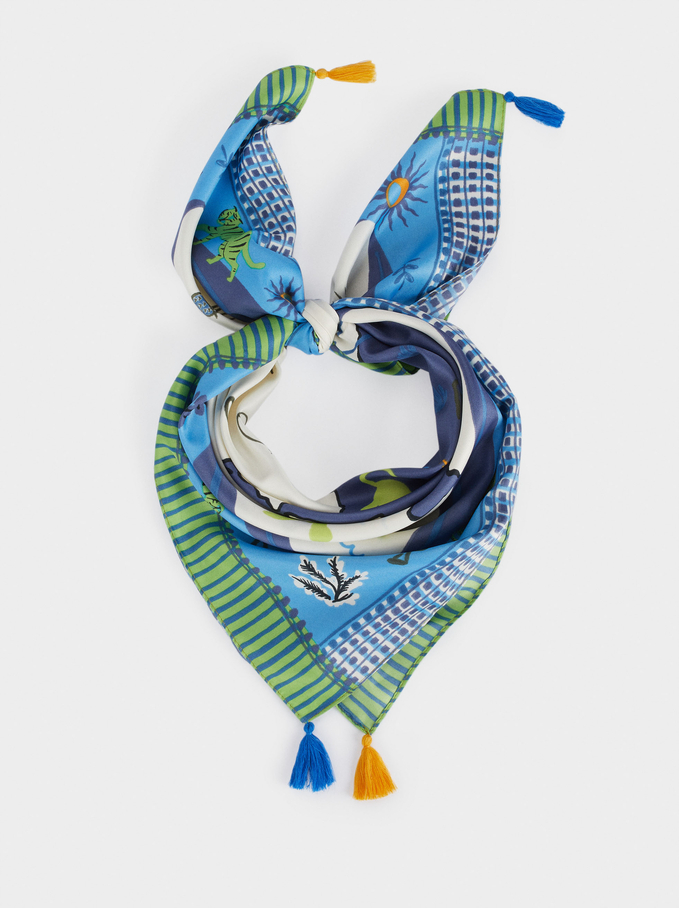 Foulard Carré Imprimé, Bleu, hi-res
