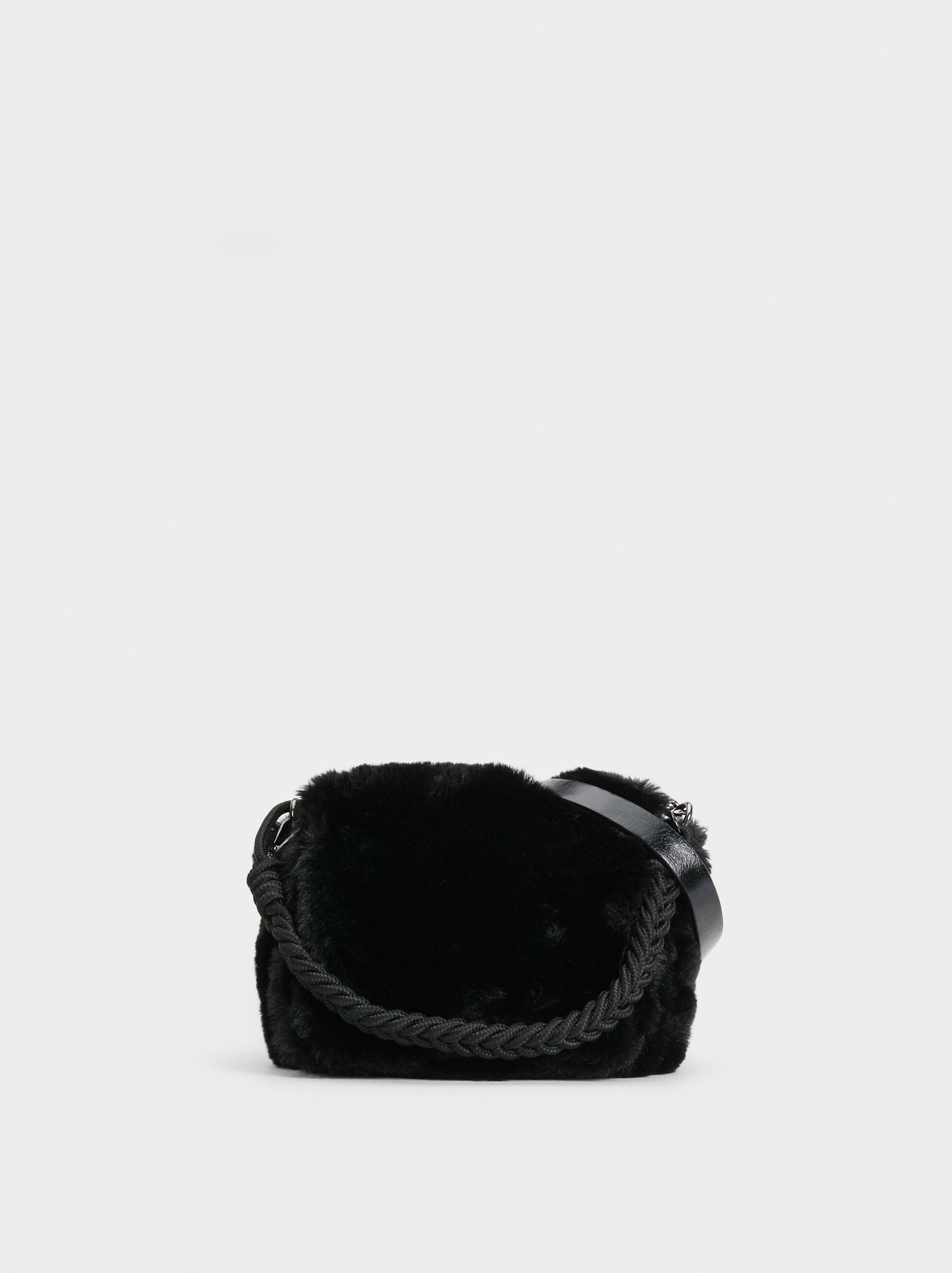 Faux Fur Crossbody Bag With Braided Handle, , hi-res