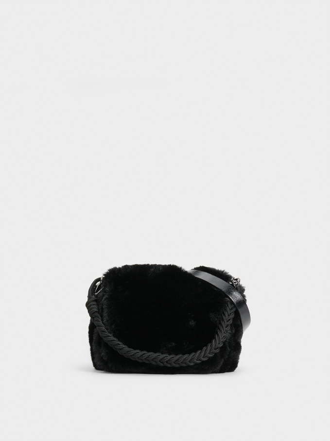 Faux Fur Crossbody Bag With Braided Handle, Black, hi-res