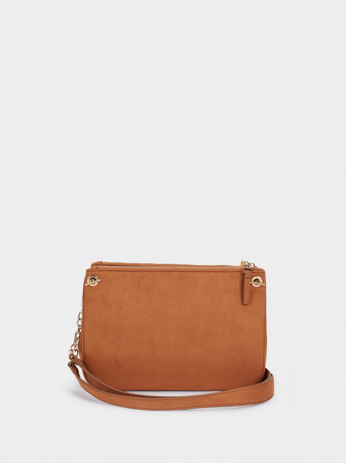 Fake Suede Crossbody Bag With Zip Fastening, Camel, hi-res