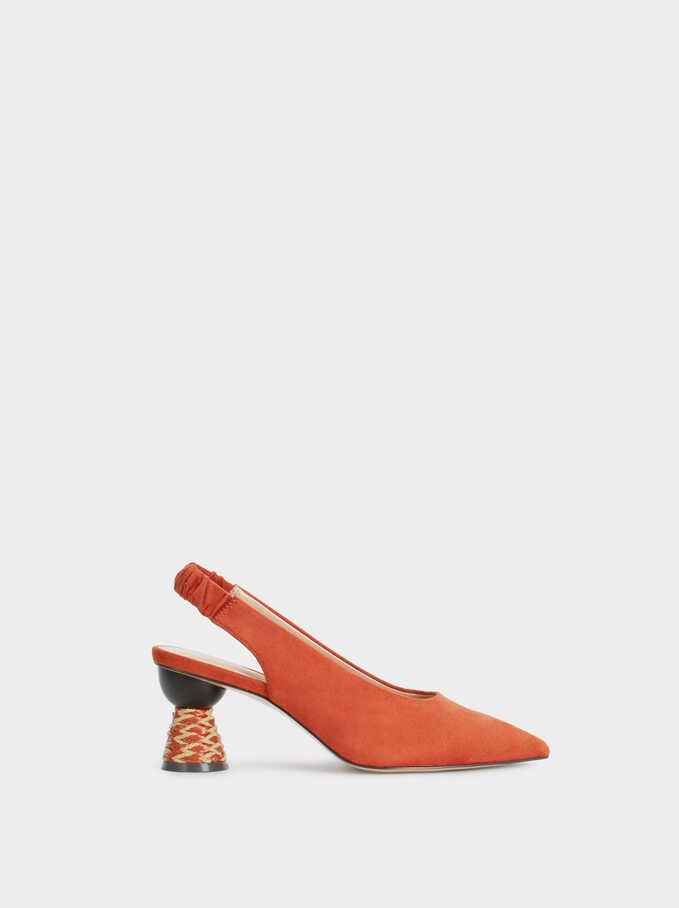 Court Shoes With Geometric High Heels, Brick Red, hi-res